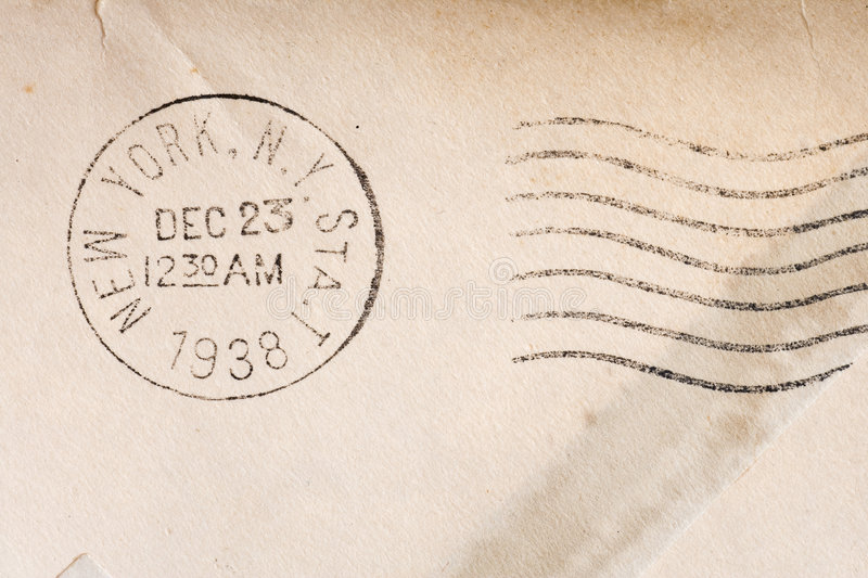 Vintage yellowed envelope. With postmark stamp stock photos