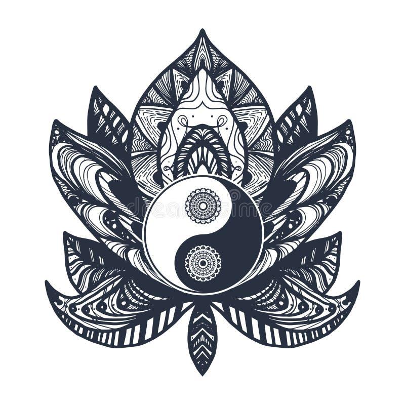 Vintage Yin and Yang in Lotus. Vintage Yin and Yang in Mandala Lotus. Tao symbol for print, tattoo, coloring book,fabric, t-shirt, yoga, henna, cloth in boho royalty free illustration