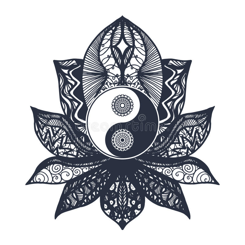 Vintage Yin and Yang in Lotus royalty free illustration