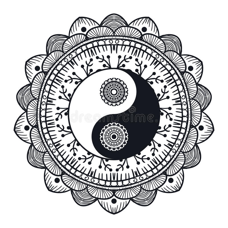 Vintage Yin and Yang in Mandala. Tao symbol for print, tattoo, coloring book,fabric, t-shirt, yoga, henna, cloth in boho style. Mehndi, occult and tribal royalty free illustration