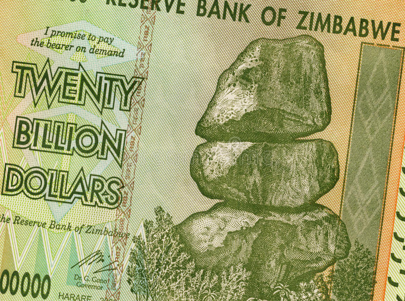 Vinte bilhão dólares - Zimbabwe foto de stock