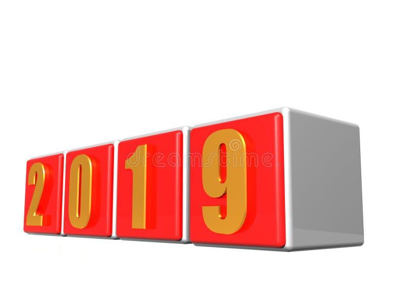 Vinte dezenove rendições 2019 do planejador 3d das mostras ilustração stock