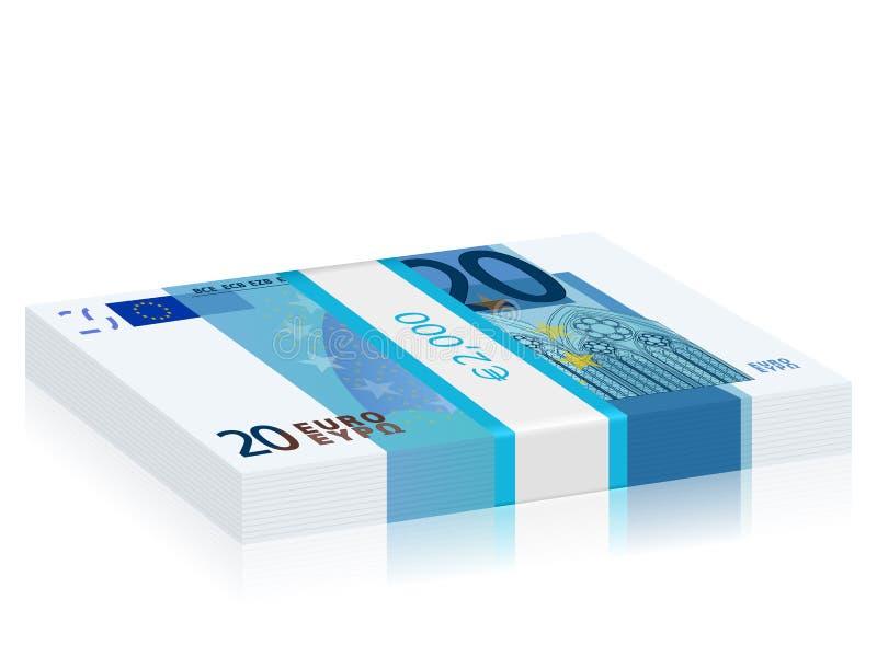 Vinte euro- pilhas ilustração do vetor