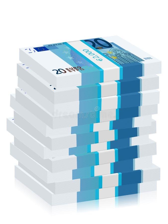 Vinte euro- pilhas das cédulas ilustração stock