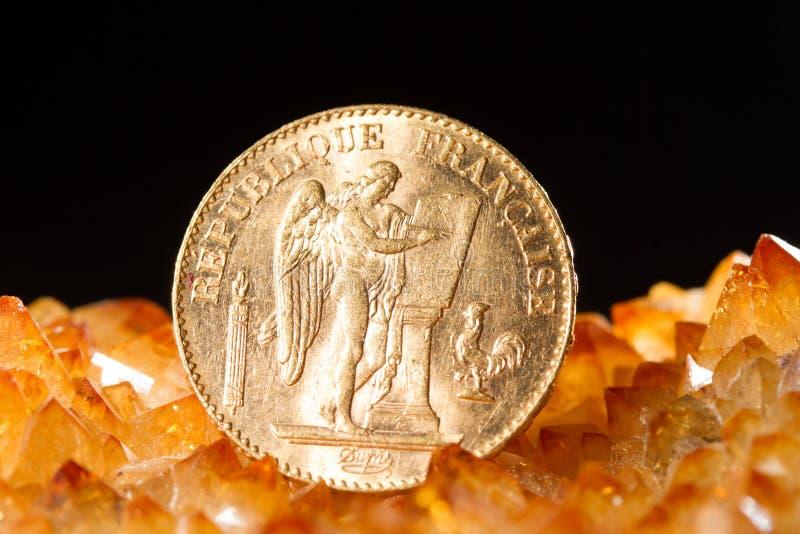 Vinte francos franceses de moedas imagem de stock