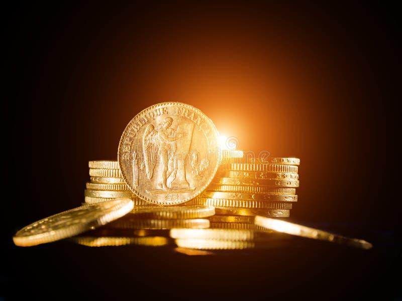 Vinte francos franceses de moedas fotos de stock royalty free