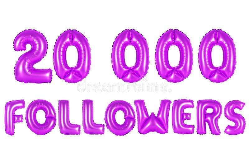 Vinte mil seguidores, cor roxa fotografia de stock royalty free