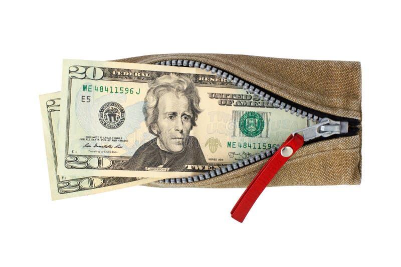 Vinte notas de dólares em carteira aberta com fundo branco de zíper isolado numa vista de cima, 20 dólares americanos na bolsa fotografia de stock