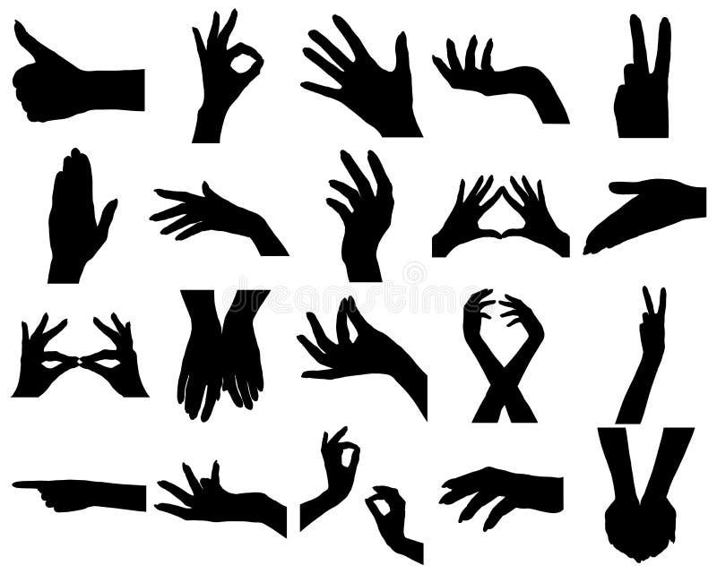 Vinte silhuetas das mãos da mulher ilustração do vetor