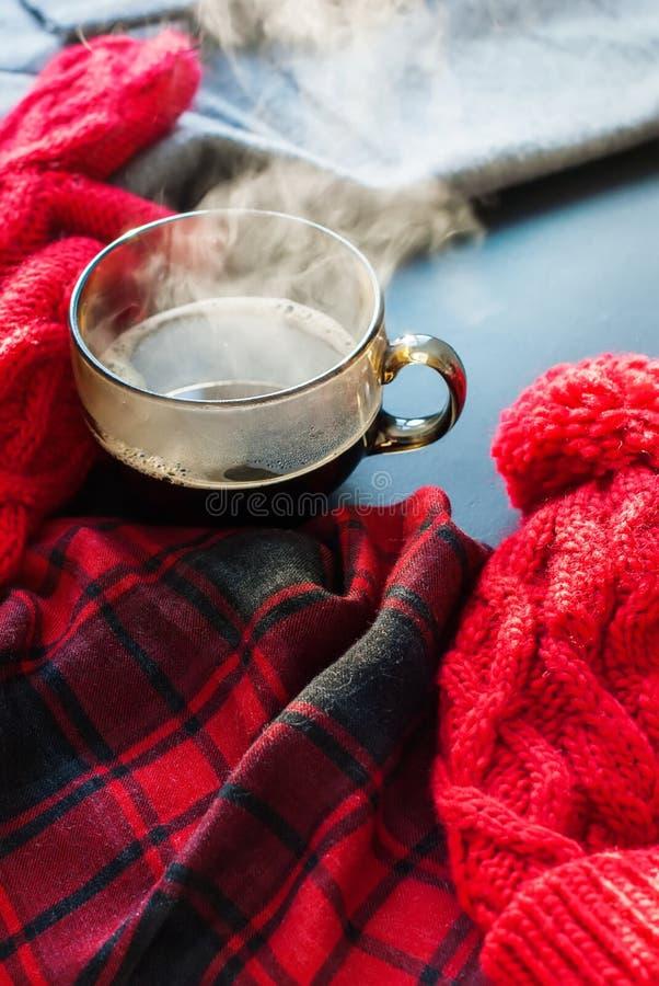 Vinter Autumn Time New Year för ånga för tekopp varm arkivbild