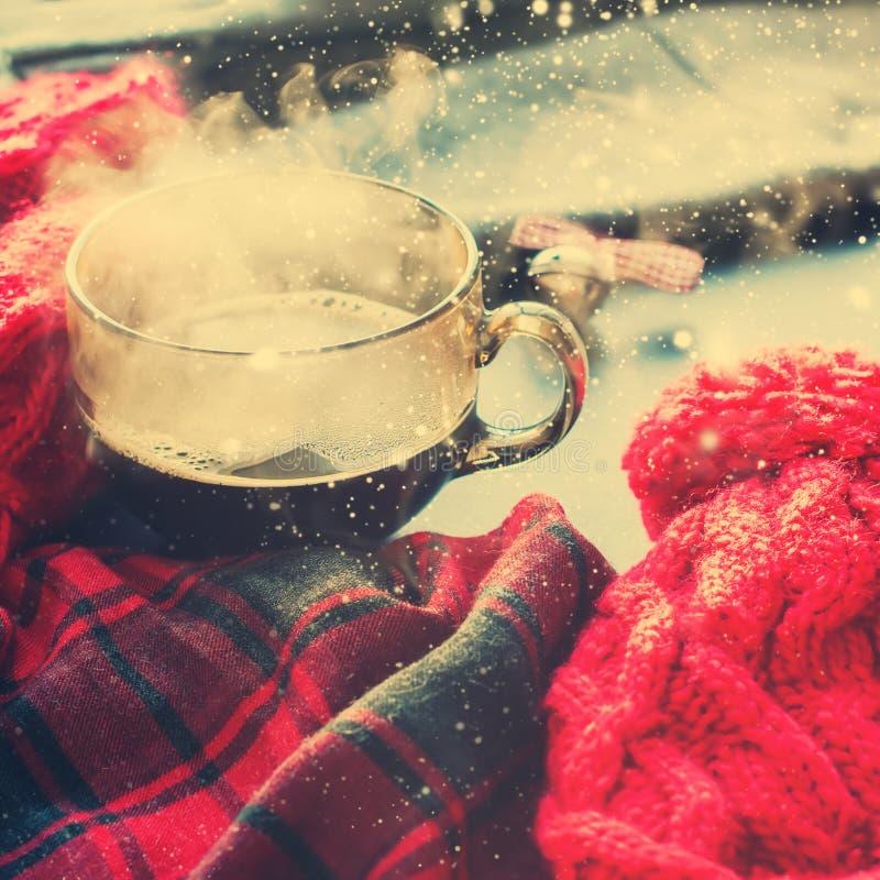 Vinter Autumn Time New Year för ånga för tekopp varm royaltyfria bilder