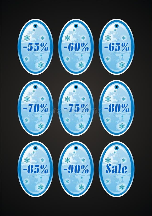 vinter för 2 etiketter för försäljning set royaltyfria bilder