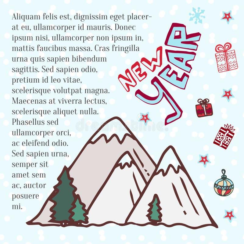 vinter för caucasus georgia gudauriberg Gullig vektorkonst för nytt år vektor illustrationer