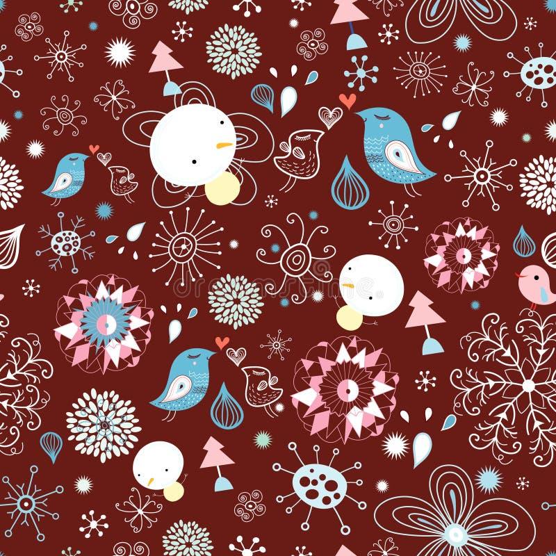 vinter för fågelmodellsnowflakes stock illustrationer