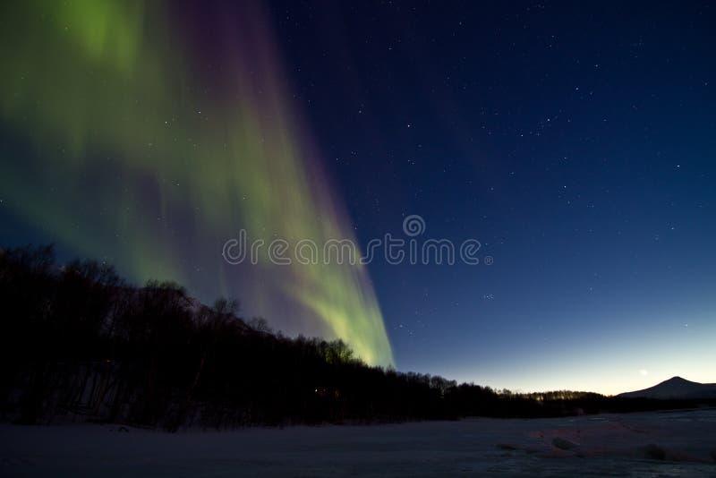 vinter för hav för morgonrodnadislampa nordlig over arkivbild
