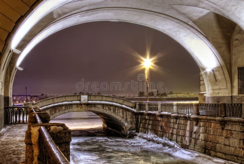 vinter för kanalpetersburg st arkivfoton