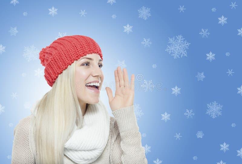 vinter för kläder för bakgrund härlig isolerad vit flicka arkivfoto