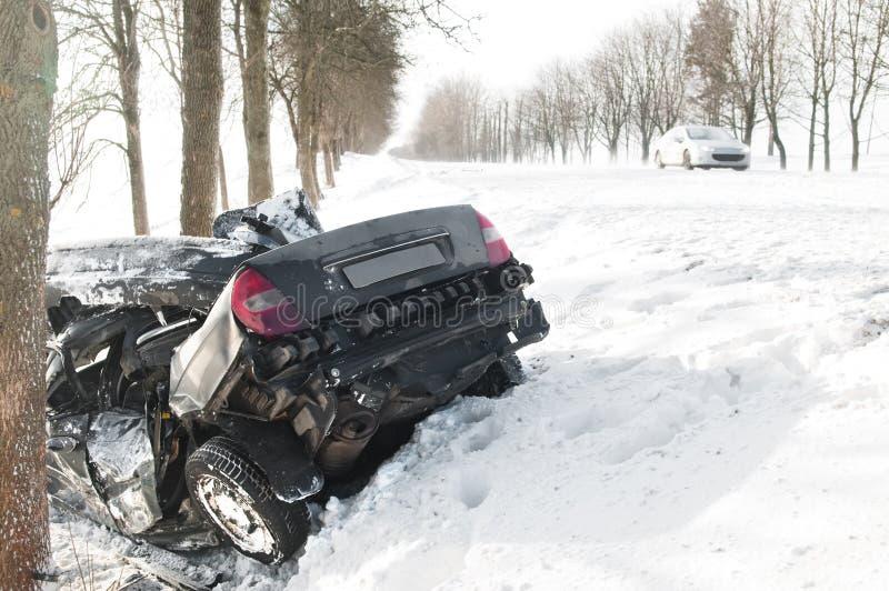 vinter för olycksbilkrasch arkivbild