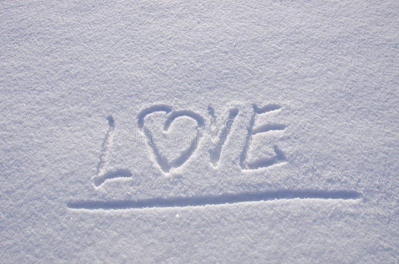 vinter för snow för förälskelse för begreppsuttrycksmeningar arkivfoto