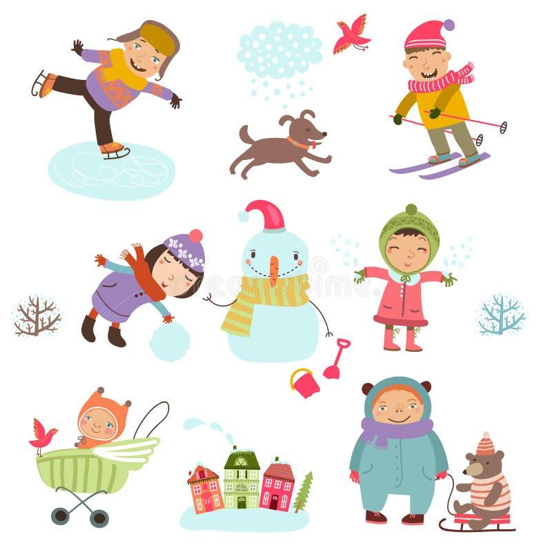 vinter för snow för pojkeferielay Gullig illustration av ungar som utomhus spelar i vinter vektor illustrationer