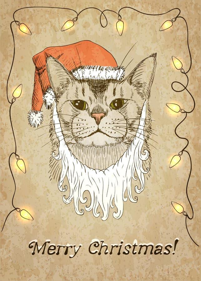 vinter för snowflake för snow för pott för kattjulillustration Vektorillustration, EPS10 vektor illustrationer