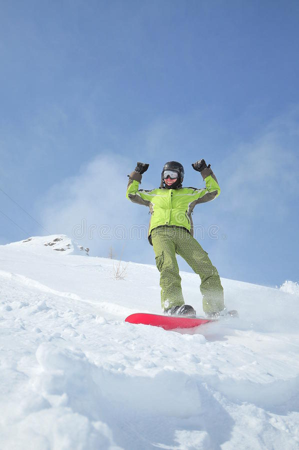 vinter för ståendesnowboardersportar royaltyfria bilder