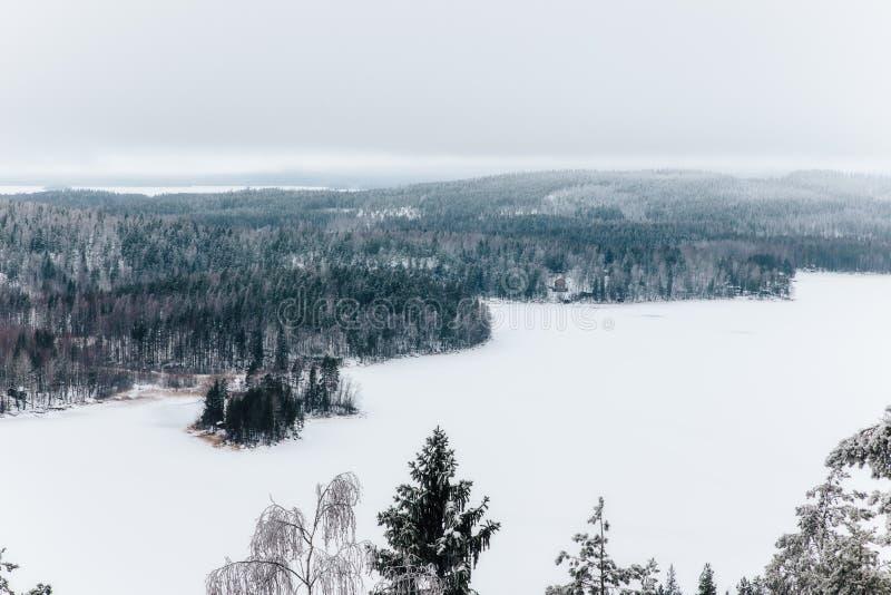 Vinter i den Finland synvinkeln från den andra högsta punkten i sydliga Finland royaltyfri bild