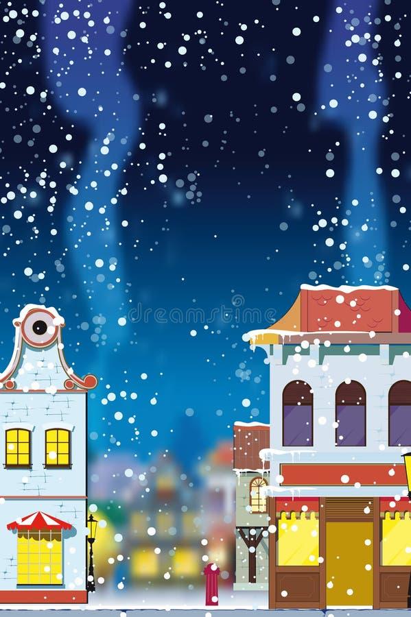 Vinter i den lilla europeiska staden royaltyfri illustrationer