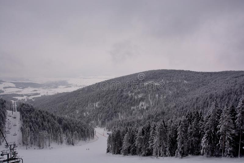 Vinter i Serbien Zlatibor 2017 arkivbild