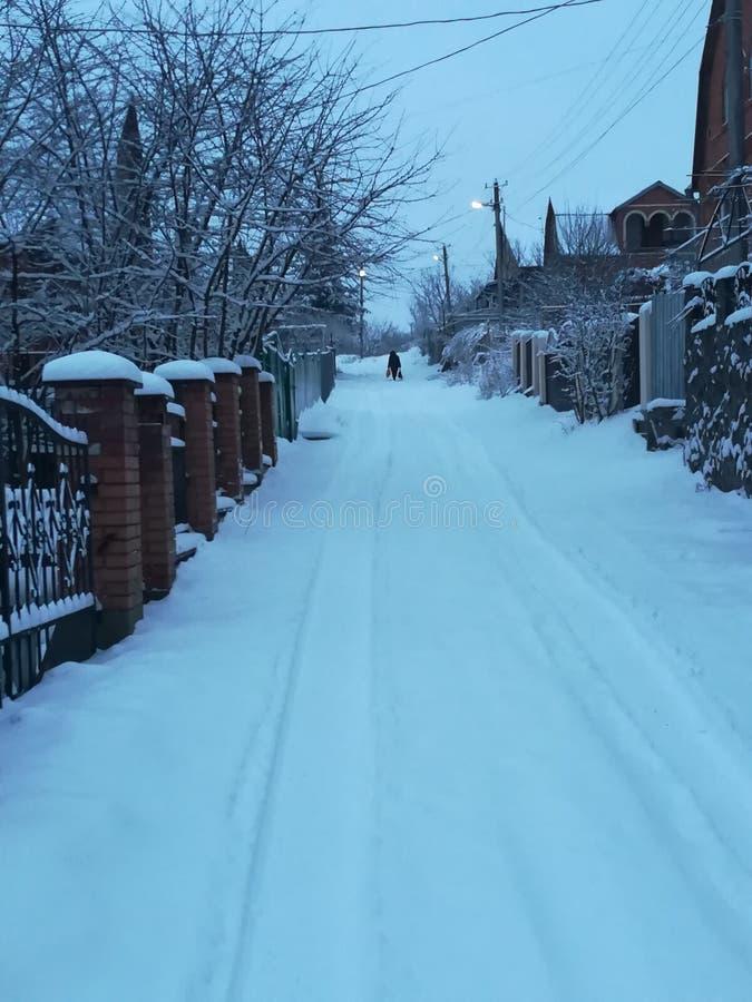 Vinter i stad arkivfoto