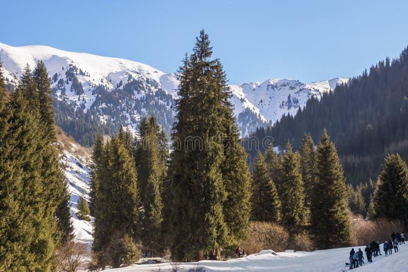 Vinter i Tien Shan berg arkivbild