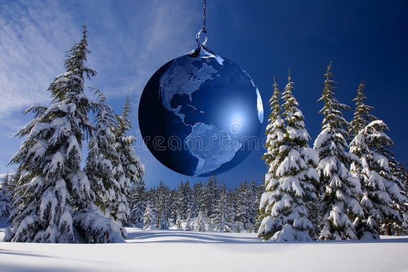 Vinter julgran, träd, himmel