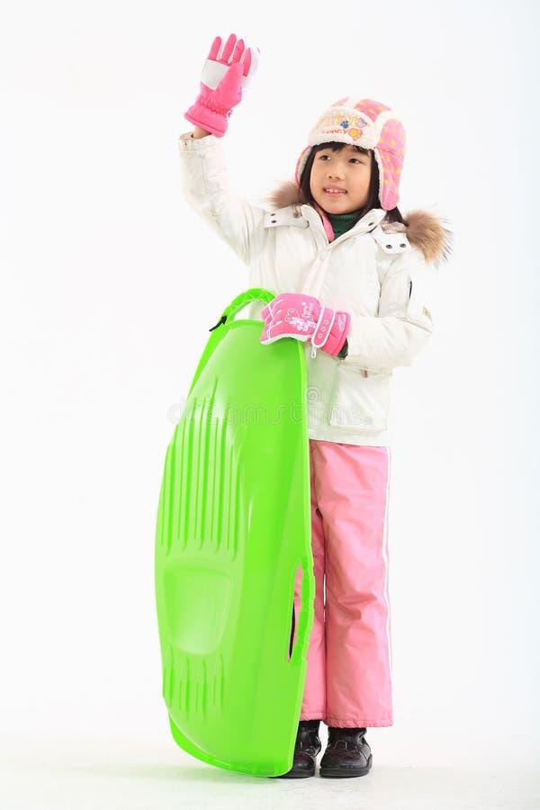 Vinter Leiasure av barnet royaltyfri fotografi