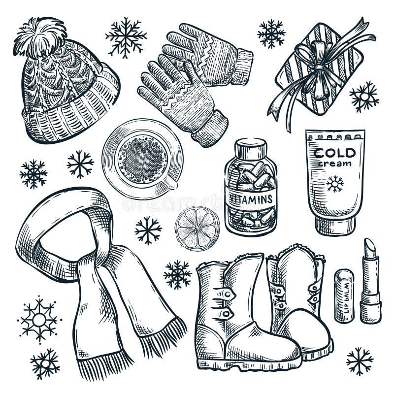 Vinter- och höstväsentlighet, vektor skissar illustrationen Modekläder, beståndsdelar för nedgångtillbehördesign stock illustrationer