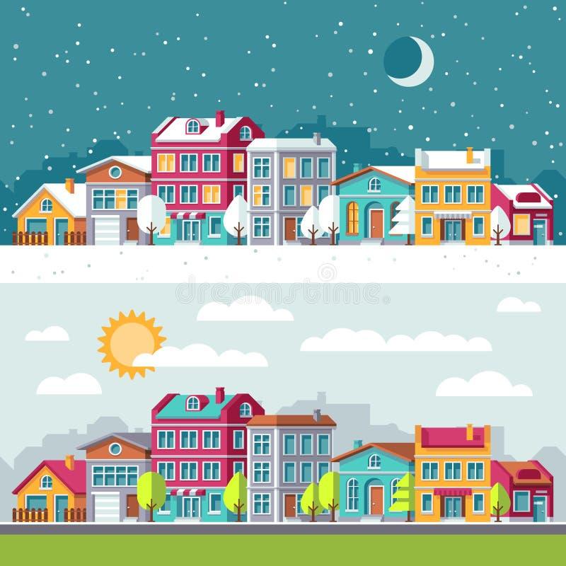 Vinter- och sommarlandskapet med stadshus sänker vektorillustrationen royaltyfri illustrationer