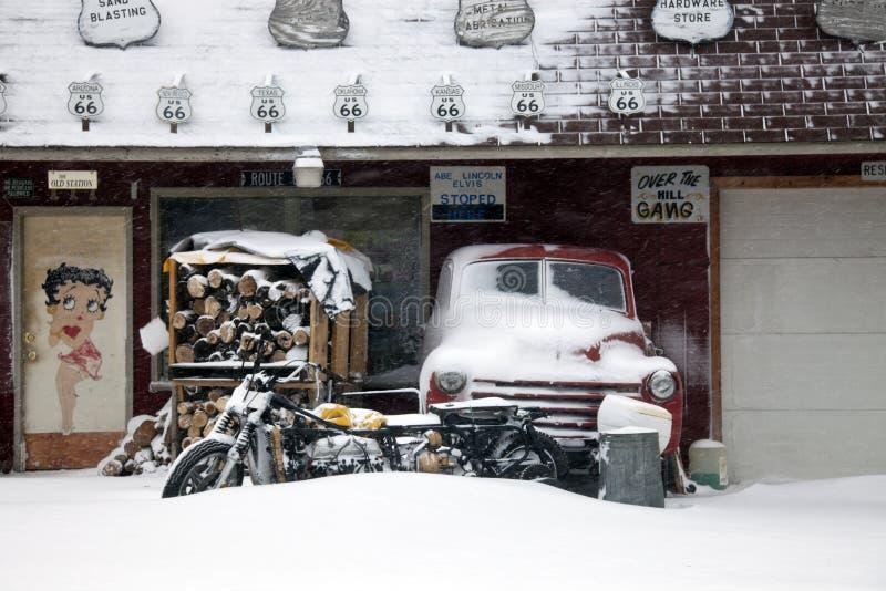 Vinter på rutt 66 arkivfoton