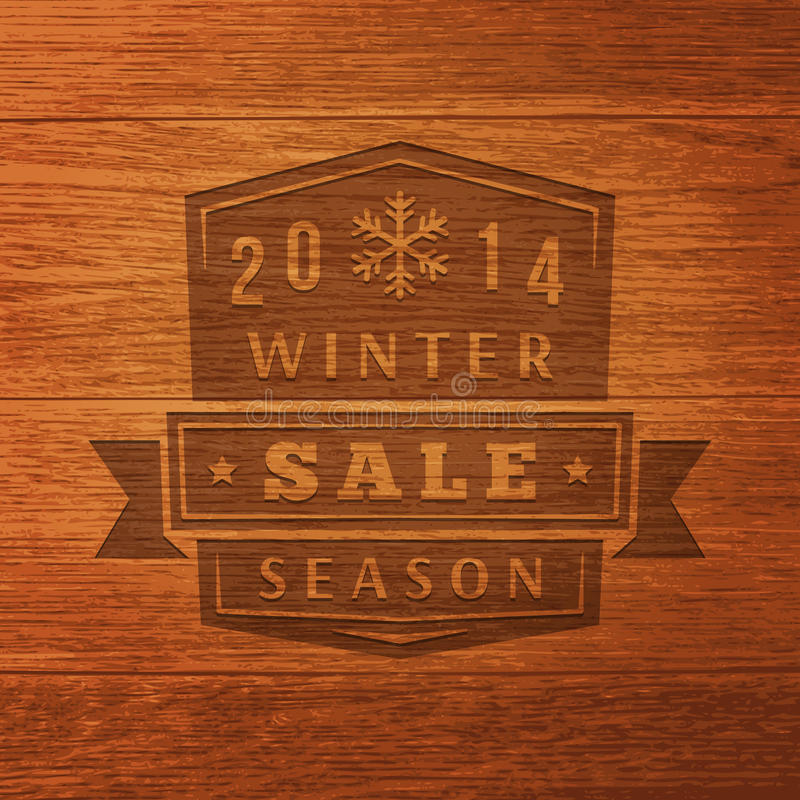 2014 vinter Sale etikett på Wood textur. Vektor royaltyfri illustrationer