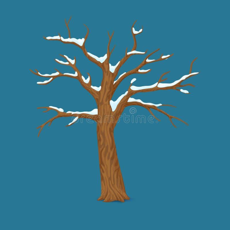 Vinter sen höstsäsongsymbol, symbol Det enkla kala avlövade trädet med snö täckte filialer som isolerades på blå bakgrund stock illustrationer