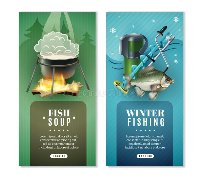 Vinter som fiskar uppsättningen för 2 den vertikala baner stock illustrationer