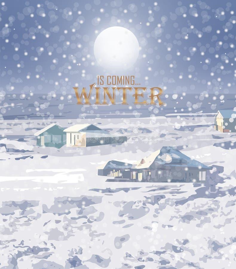 Vinter som snöar bakgrundsvektorn Litet hus och trän bolljulen isolerade white för mood tre tecknad filmstilar royaltyfri illustrationer