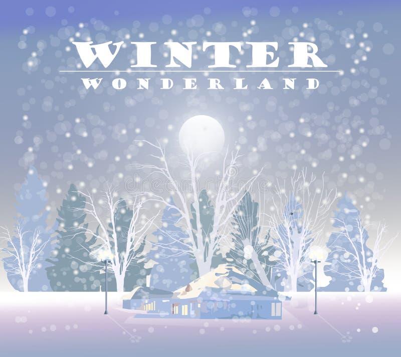 Vinter som snöar bakgrundsvektorn Litet hus och trän bolljulen isolerade white för mood tre tecknad filmstilar vektor illustrationer