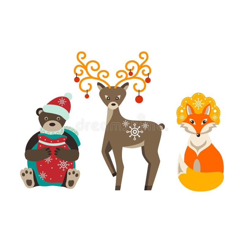 Vinter Ställ in av juldjur Björn hjort, räv Isolerad bildvektor vektor illustrationer