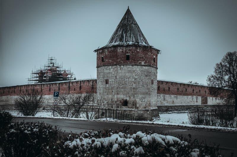 Vinter Zaraysk Kreml arkivbild