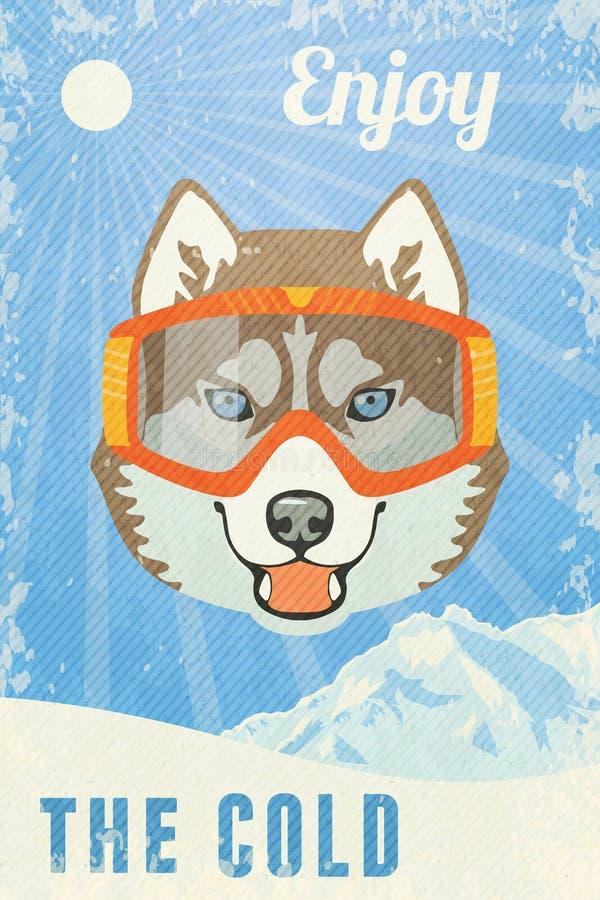 Vinteraffisch med skrovligt Vektorillustration, EPS10 vektor illustrationer