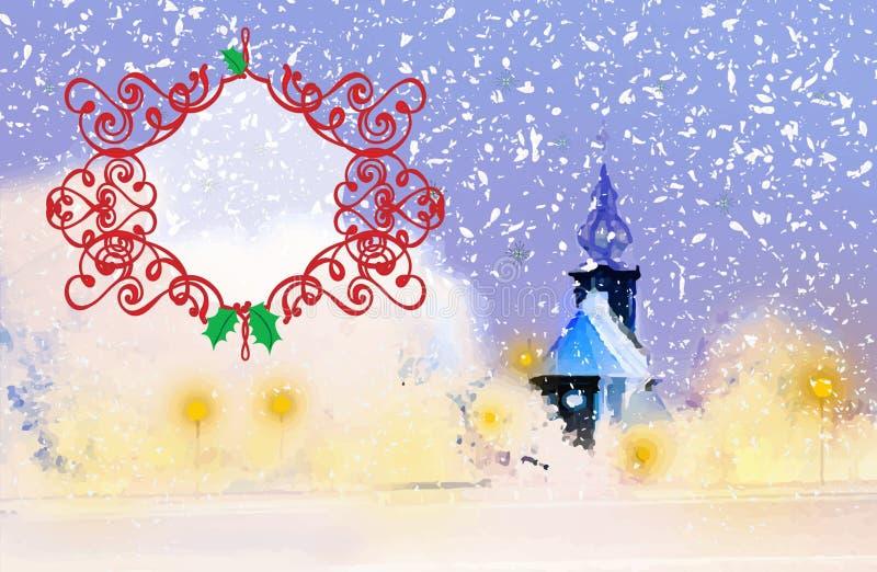 Vinteraftonkyrka i snön, med den tomma textasken fotografering för bildbyråer