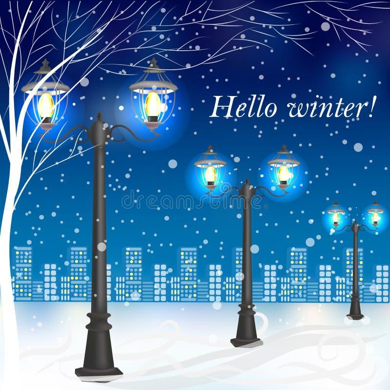 Vinteraftonlandskap med tappninglyktstolpar royaltyfri illustrationer