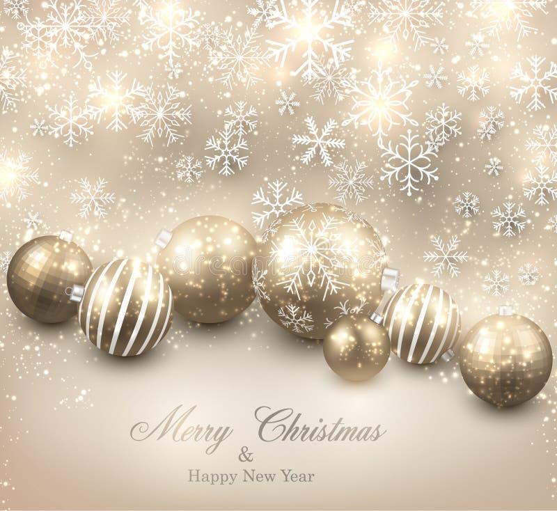 Vinterbakgrund med guld- julbollar stock illustrationer