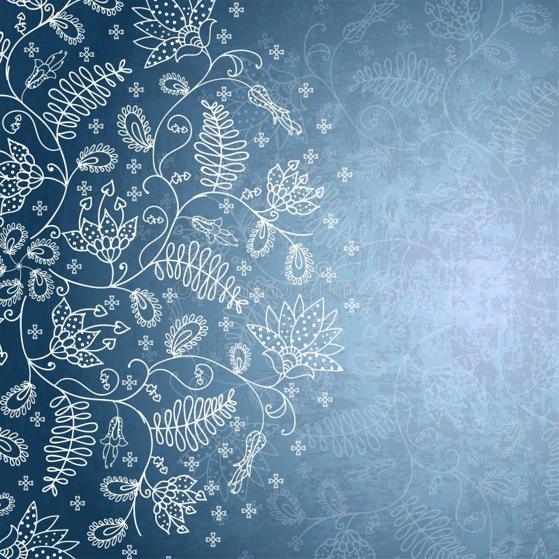 Vinterbakgrund med snöflingablomman vektor illustrationer