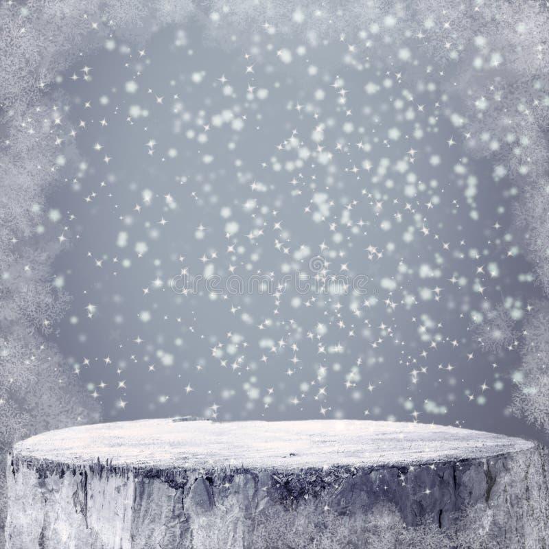Vinterbakgrundsdiagram övervintrar text för snöfrostprojectsspace arkivfoto
