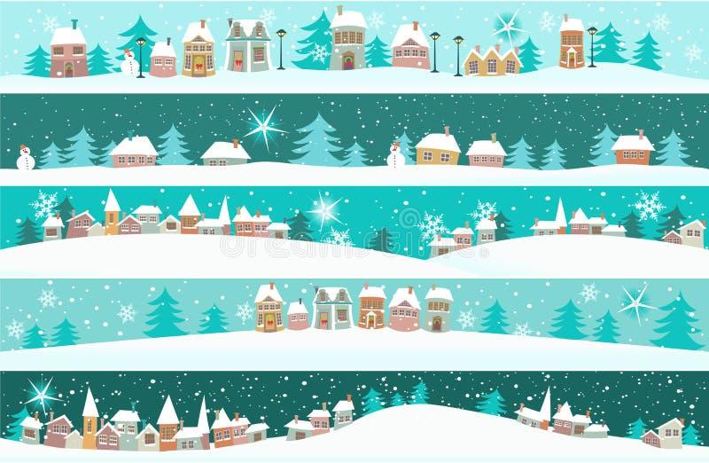 Vinterbaner med tecknad filmhus royaltyfri illustrationer